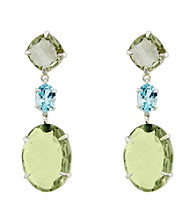 Oval Triple Drop Earrings with Green Amethyst and Sky Blue Topaz