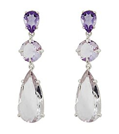 Pear Shaped Pink Amethyst Triple Drop Earrings