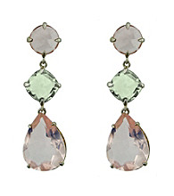 Pear Shaped Pink and Green Amethyst Drop Earrings