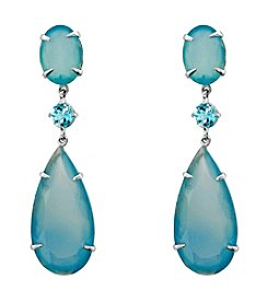 Long Pear Shaped Blue Chalcedony and Sky Blue Topaz Drop Earrings