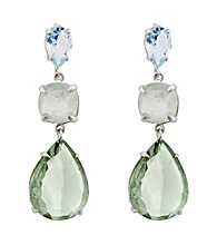 Multiple Shaped Sky Blue Topaz, Prehnite & Green Amethyst Earrings