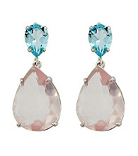 Double Drop Sky Blue Topaz and Pink Amethyst Earrings
