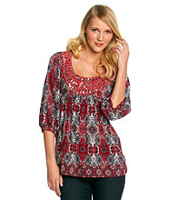 Oneworld Mosaic Print Embellished Top