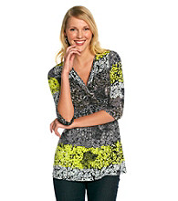 Oneworld Floral Twist Front Top