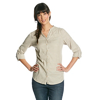 Ruff Hewn Long Sleeve Button-down Band-Collar Shirt