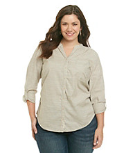 Ruff Hewn Plus Size Long Sleeve Buttondown Band-Collar Shirt