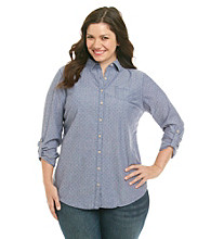 Ruff Hewn Plus Size Long Sleeve Buttondown Collared Shirt