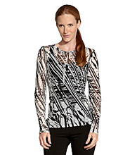 Karen Kane Graphic Print Long Sleeve Crewneck Top