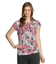 Laura Ashley Berry Floral Cap Sleeve Ballet Neck Tee