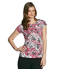 Laura Ashley® Petites's Berry Floral Cap Sleeve Ballet Neck Tee