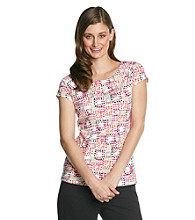 Laura Ashley Multi Dot Cap Sleeve Ballet Neck Tee