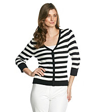 NY Collection Snap-Front Stripe Cardigan