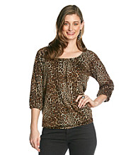 NY Collection Animal Printed Top With All Over Foil Dot