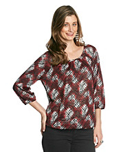 NY Collection Printed Top With All Over Shimmer