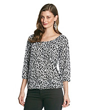 NY Collection Leopard Print Top