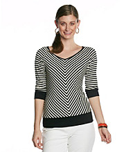 AGB® Variegated Stripe Knit Top