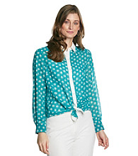AGB® Dot Print Point Collar Blouse