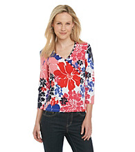 Ruby Rd.® Floral Printed Surplice Top with Beads