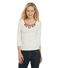 Ruby Rd.® Solid Beaded Scoopneck Top
