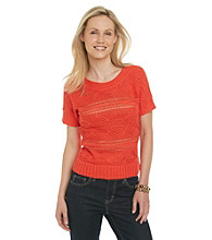 Ruby Rd. Short Sleeve Boatneck Open Stitch Pullover Sweater