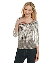 Ruby Rd. Beaded Neckline Boarder Print Knit Top