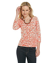 Ruby Rd. Beaded Open Keyhole Neckline Knit Top