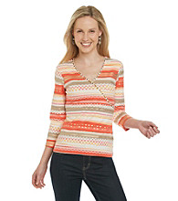 Ruby Rd. 3/4 Sleeve Surplice Knit Top with Foil