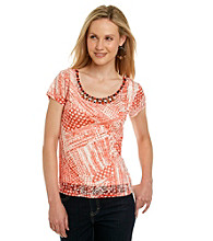 Ruby Rd. Beaded Neck Burnout Knit Layered Look Top