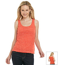 Ruby Rd. Crochet Front Sleeveless Overlay Top
