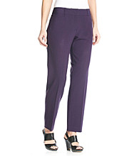 Briggs New York Stretch Waistband Metal Clasps Closure Front Cateye Pockets Straight Leg Pants