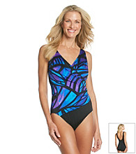 Studio Works® Mikado Wing Printed Surplice Swimsuit