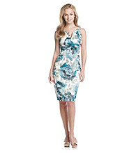 London Times® Floral Stretch Satin Sheath Dress
