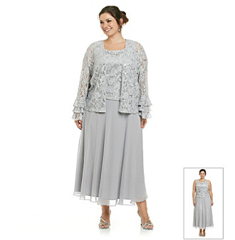 Jessica Howard® Plus Size Long Lace Jacket Dress