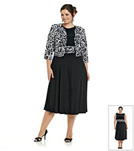 Jessica Howard® Plus Size Ruched Waist Print Jacket Dress