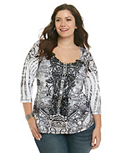 Oneworld® Plus Size Sublimated Lace Trim Henley