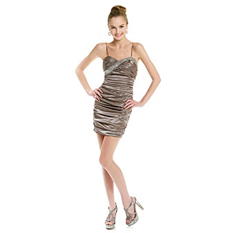 Hailey Logan Juniors' Mocha Bodycon Silky Dress