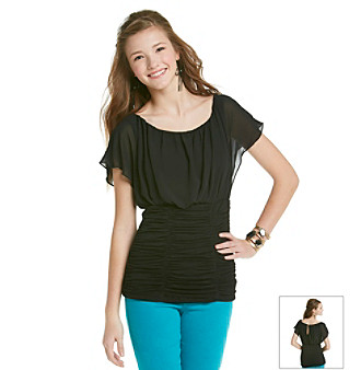 XOXO® Juniors' Ruched Bottom Top