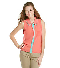 Sequin Hearts Juniors' Contrast Trim Woven Top