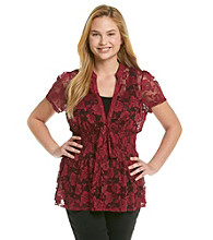 Eyeshadow® Juniors' Plus Size Tie-Front Lace Shirt
