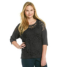 Eyeshadow® Juniors' Plus Size Lace Front Dolman Top