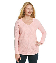 Eyeshadow® Juniors' Plus Size Lace Front Baseball Tee