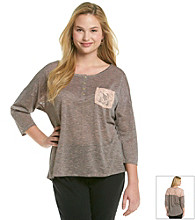 Eyeshadow® Juniors' Plus Size Striped Lace Back Tee