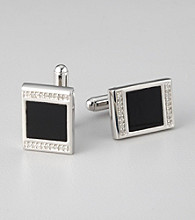 Stainless Steel Onyx/Diamond Accent Cuff Links