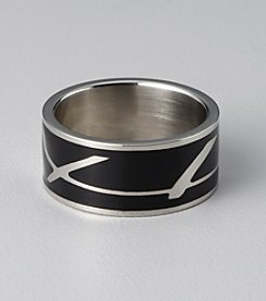 Stainless Steel Onyx Band Ring