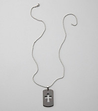 Black Stainless Steel Cross Dog Tag Necklace
