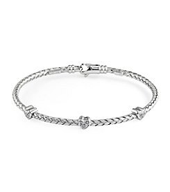 Effy® Sterling Silver Bracelet with .04 ct. t.w. Diamond Heart Accents