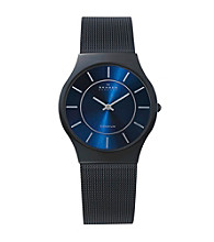 Skagen Denmark Men's Black Mesh Strap w/Blue Dial Watch