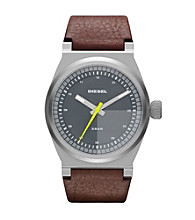Diesel Mens Silver Brown Watch