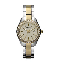 Fossil® Stella Mini Stainless Steel Two Tone Watch