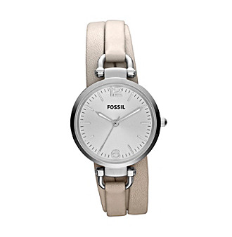 Fossil® Georgia in Silvertone w/faux Triple Wrap Leather Strap in Winter White